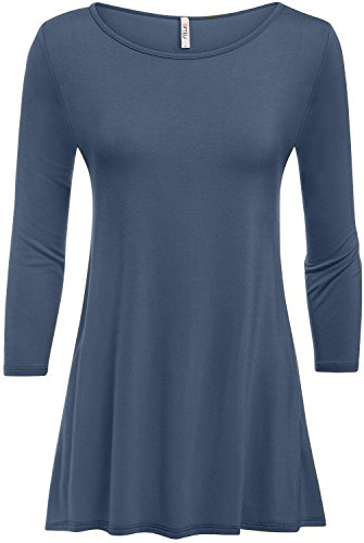 Denim Blue Tunics Womens 3/4 Sleeve T Shirts Plus Size and reg Tunic Tops,Denim - Shirt Denim Stretch 3/4 Sleeve
