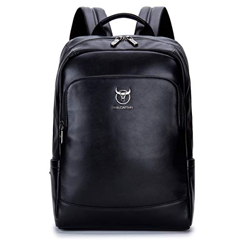 Bullcaptain Men's Real Leather 14 inch Laptop Backpack Travel Bag for School & Business SJB-330 (Black)