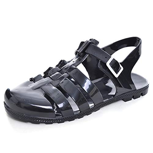 Hee grand Women Crystal Jelly Sandals Crystal Jelly Shoes Flat Black US 7.5