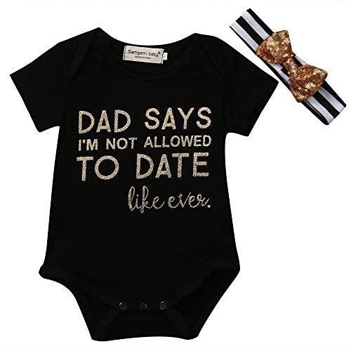 Infant Baby Girls Letter Print Black Onesie Romper Bodysuit With Striped Headband Outfit Short Sleeve Shirt (12-18 Months Black)