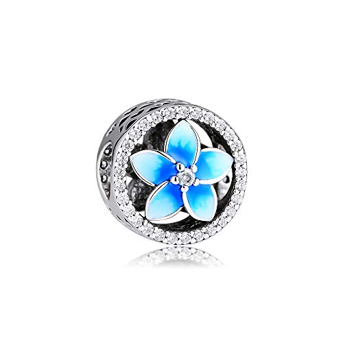 CKK Jewellery 925 Sterling Silver Flower Charm, Blue Plumeria Charm for European Bracelets DIY Women Jewelry