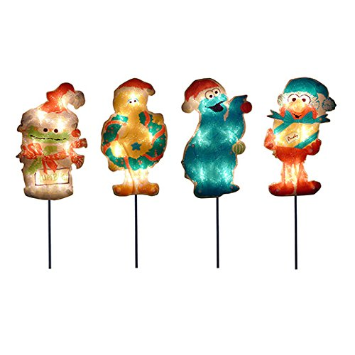 ProductWorks 8-Inch Pre-Lit Sesame Street Christmas Pathway Markers (Set of 4) (Street Light Four)