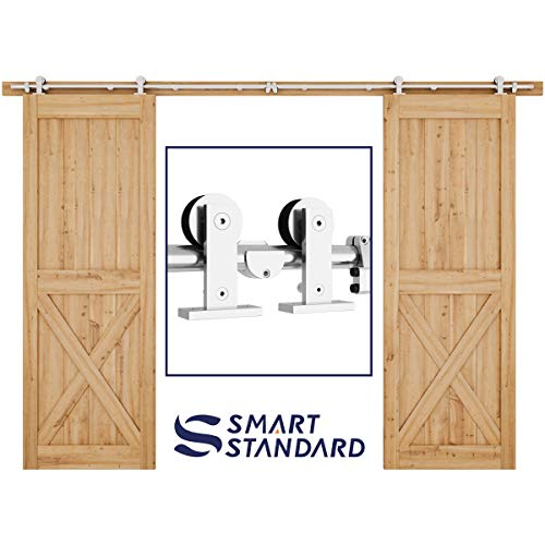 SMARTSTANDARD 10ft Stainless Steel Double Door Sliding Barn Door Hardware Kit - Super Smoothly and Quietly - Easy to Install - Includes Installation Instruction - Fit 30
