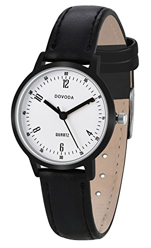 DOVODA Womens Watches Fashion Small Face Black Leather Band Dress - Watch Ladies Leather Dress