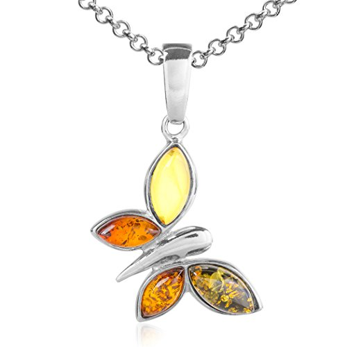 Multicolor Amber Sterling Silver Butterfly Pendant Necklace Chain (Amber Butterfly Necklace)