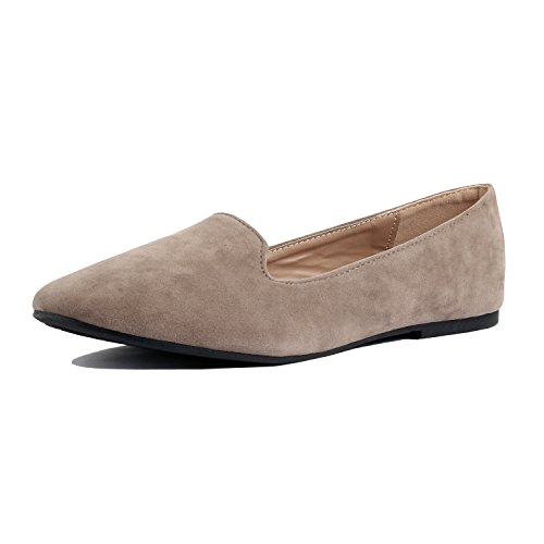 Guilty Heart | Women's Faux Suede Comfortable Closed Toe Slip On Ballet Loafer Flats Loafers & Slip-Ons, Taupe Suede, 8 B(M) US by Guilty Heart