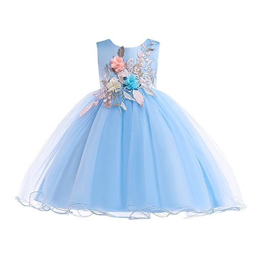 ZHANGVIP Kids Baby Girl Floral Lace Flare Sleeve Formal Elegant Evening Party Wedding Princess Tutu Long Dress(3-7T) (5-6 Y, Blue1)