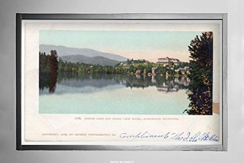 New York Map Company  Mirror Lake and Grand View Hotel, Lake Placid, N. Y, 1902 Postcard Vintage Antique Fine Art Reproduction Photo |Size: 7x12|Ready to Frame