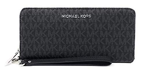 Michael-Kors-Jet-Set-Travel-Continental-Zip-Around-Leather-Wallet-Wristlet-Black-PVC-Silver-Hardware
