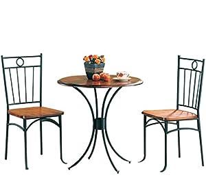 Amazon.com - Coaster 5939 Metal and Wood 3-Piece Bistro Table ...