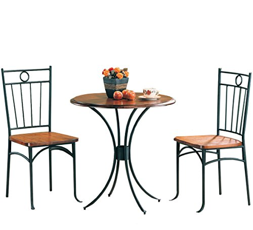 Coaster 5939 Metal and Wood 3-Piece Bistro Table/Chair Set (Round Nook Table Breakfast)