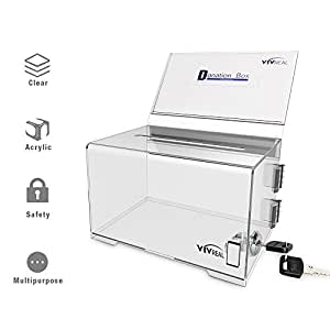"""Donation Box with Lock - Acrylic Donation Box with Sign Holder, Clear Donation Box, Tips Box, Suggestion Box, Ballot Box, Collection Box with Detachable Sign Holder, 6"""" 1/4 x 4"""" 1/2 x 4"""""""