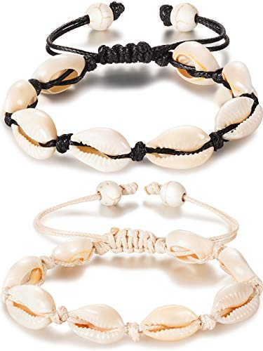 meekoo 2 Pieces Natural Shell Anklet Bracelet Handmade Beach Foot Jewelry Adjustable Boho Beaded Anklet for Women and Girls