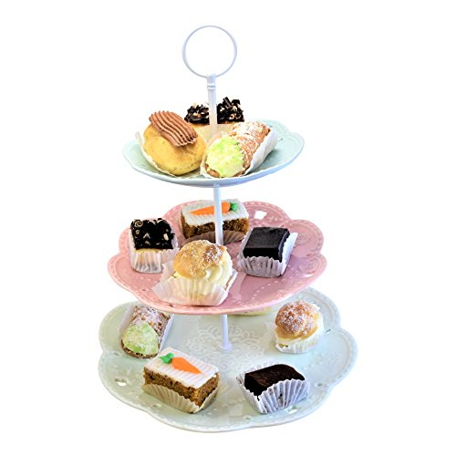 3 Tiered Porcelain Cake Stand - Party Food Server Display Set - Three Tier Dessert Stand - Perfect for your Tea Party, Baby Shower and Dessert Table - Multicolor (Editable Cake Topper)