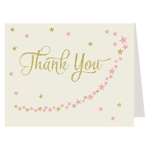 Baby Shower Thank You Cards, Twinkle Little Star, Glitter, Gold, Girls, Over the Moon, Wish Upon a Star, PInk, Blush, Sprinkle, Kids, 50 Folding Notes with Envelopes, Twinkle Star, Ivory Gold Pink