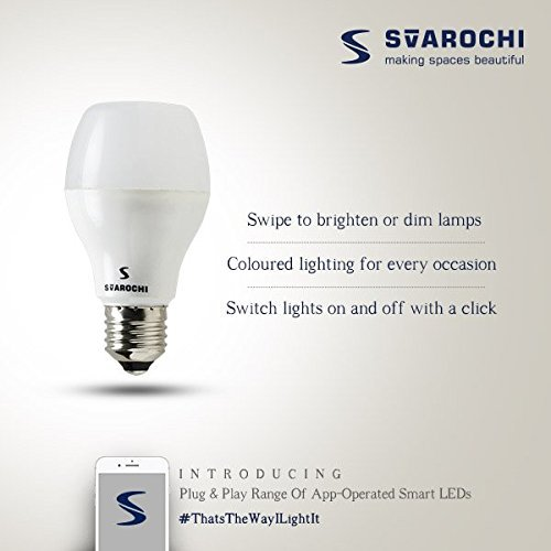 Roshni  amp; Light Svarochi B22 Bluetooth Enabled Glass Smart LED Light Bulb  Warm White, 12 W