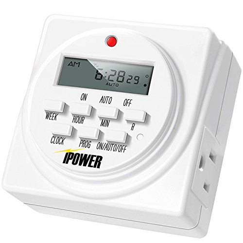 iPower GLTIMEDWEEK Programmable Dual Outlet 7-Day Digital Timer, 1 Pack
