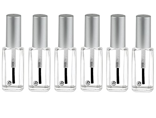 Nakpunar 6 pcs Oblong Empty Glass Nail Polish Bottles with Brush, Cap and Mixing Agitator balls