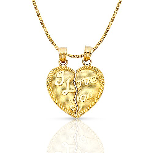 Ioka Jewelry - 14K Yellow Gold ''I Love You'' Couple Broken Heart Charm Pendant with 1.5mm Flat Open Wheat Chain - 16'' by Ioka Jewelry