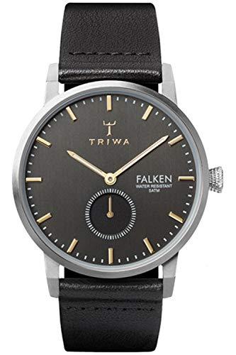 Triwa falken Unisex Analog Japanese Quartz Watch with Leather Bracelet FAST103BK