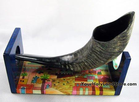 Hand Painted Wooden Shofar Stand From Israel By YourHolyLandStore
