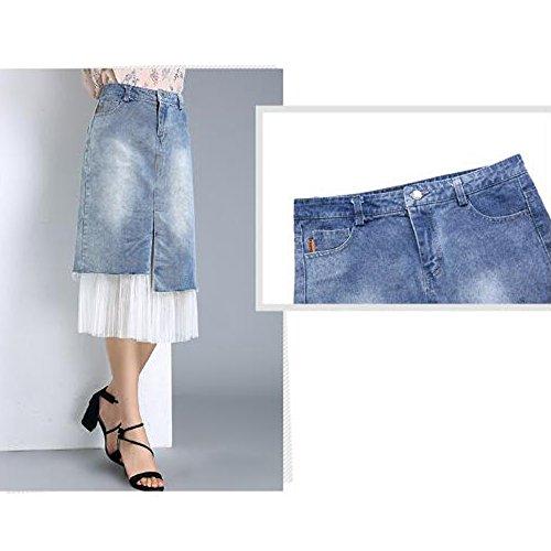 El Tamaño Del Niais Cintura Vestido Falda Línea Una Verano Blue Vaquero De Más Media Corto Mujeres Las Mezclilla PFOPH7rqw
