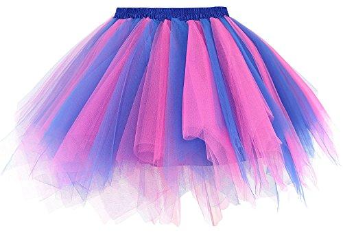 Rock'n Royals Costume (Women's 1950s Vintage Tutu Dresses Petticoat Ballet Bubble Layered Tulle Skirts (Royal Blue/Hot Pink))