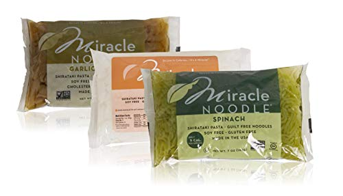 (Miracle Noodle Gluten Free Zero Carbs Keto Blood Sugar Friendly Shirataki Pasta Italian Style Variety Bundle of THREE 7-Ounce Packages: One Each of Spinach Angel Hair, Garlic Herb Fettucine, and Ziti)