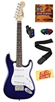 Squier by Fender Mini Strat Electric Guitar Bundle with Tuner, Strap, Picks, Austin Bazaar Instructional DVD, and Polishing Cloth - Blue