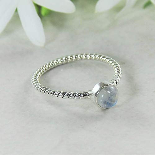 Sivalya NOVA Natural Moonstone Gemstone Ring in 925 Sterling Silver - Twisted Rope Pattern Solid Silver Band Ring for Women - Size 8