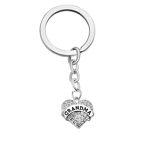 Mother's Day Gifts for Grandma Keychain Engraved Clear Crystal Pave Heart Pendant ()