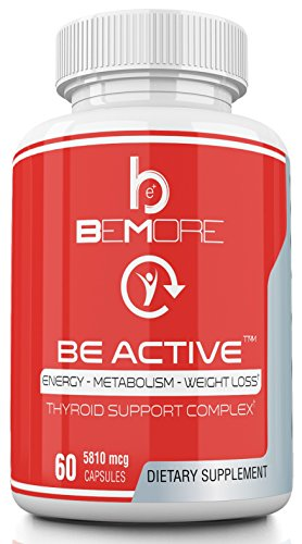 BE ACTIVE | Thyroid Support Complex | Increase Energy, Boost Metabolism, Lose Weight & Burn Fat with B-12 Schizandra Forskolin Kelp Ashwagandha Iodine Zinc Selenium Molybdenum for Thyroid Health