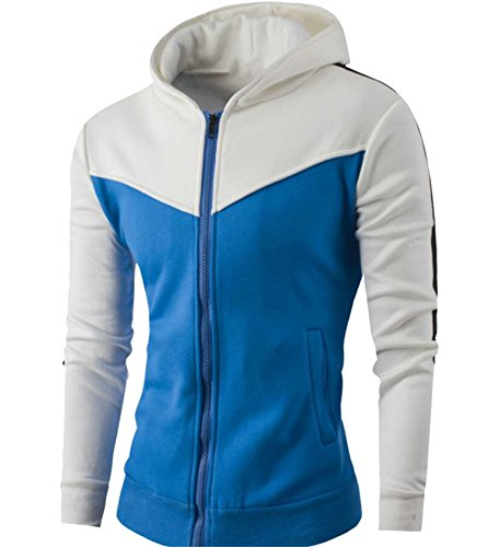 Zip Jacket Mens Gocgt Hood Sleeve Long White Collision Up Color Pocket Double fIwFpqBw6