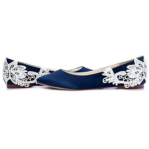 ElegantPark FC1607 Women`s Closed Toe Flower Appliques Satin Flats Navy Blue US 9