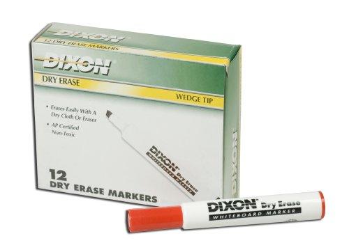 Dixon Dry Erase Markers, Wedge Tip, Red, One Dozen -