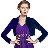Medeshe Women Long Sleeve Velvet Open Front Cardigan Cropped Bolero Shrug (Navy Blue, L)