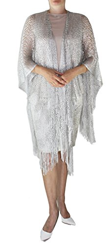 Ted and Jack - Jack's Party On Sparkling Knit Poncho in Silver - Silver Shiney