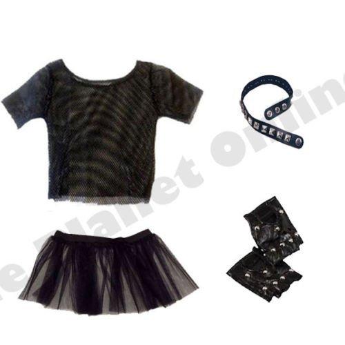 Rocker Dress Fancy 80s (Blue Planet Online - Punk Rocker Mesh Top, Studded Choker, Tutu Skirt & Gloves 1980s 80s Fancy Dress by Blue Planet)