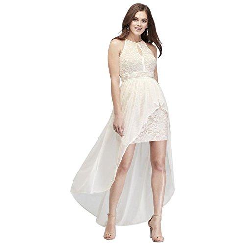 - David's Bridal Lace Glitter Keyhole Halter Dress with Overskirt Style 12163, Ivory, 8