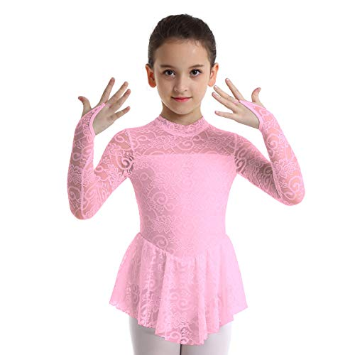 4c6b7e35742a inhzoy Big Girls' Kids Floral Lace Long Sleeve Mock Neck Ice Figure Skating  Dress Gymnastic Tutu Skirted Leotard Costume Pink 7-8