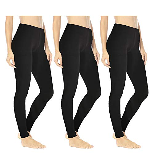 Women's Buttery Soft Printed Leggings - One/Plus High Waisted Fashion Pants 20+ Designs (One Size (US 2-12), 3 - Pack Black)
