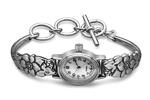 Silver Spoon Floral Petite Woman's Oval Vintage Watch Petal (Silver Spoon Watch compare prices)