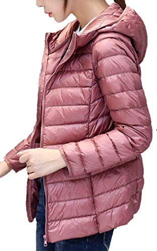 Autunno Slim Manica Con Giacca Fit Lunga Vintage Invernali Trapuntata Cerniera Casual Laterali Ragazza Puro Cappotti Colore Incappucciato Piumino Piumini Fashion Rosa Giacche Tasche Donna 5TZfq