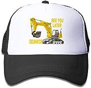 NVJUI JUFOPL Boys' See You Later Excavator Baseball Hat Snapback Mesh Funny Trucker Cap for