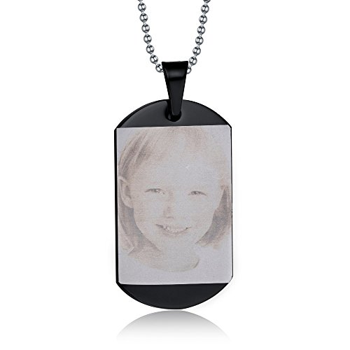 Black Dog Photo - Mealguet Jewelry Free Photo Engraving Custom Your Picture Personalized Image Stainless Steel Dog Tag Pendant Necklace,Personalized for Gift,Black