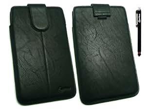 Emartbuy ® Stylus Pack - Negro Stylus + Negro Pu Cuero Slide Con Seguridad En La Bolsa / Caja / Manga / Soporte Con Mecanismo Pull Tab Adecuado Para Tablet Cambridge Wafer Ciencias Del G-7 (7 Pulgadas Tablet)