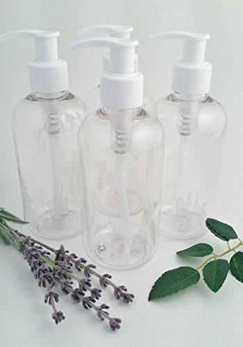 Pack de 4 x 250 ml transparente PET botella de plástico vacía con blanco Loción Bomba