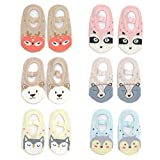 Yenzat Baby Girls Non-Skid Slip Socks Toddler Animal Mary Jane Socks Infant 12-24 Months 6 Pairs
