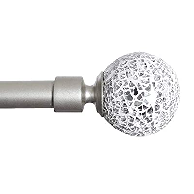 PrimeBeau 3/4 Single Curtain Adjustable Rod Set Sparkling Mosaic Balls, Black/Nickel/Pewter Colors, Adjust Length 28-48in, 48-84in, 66-120in