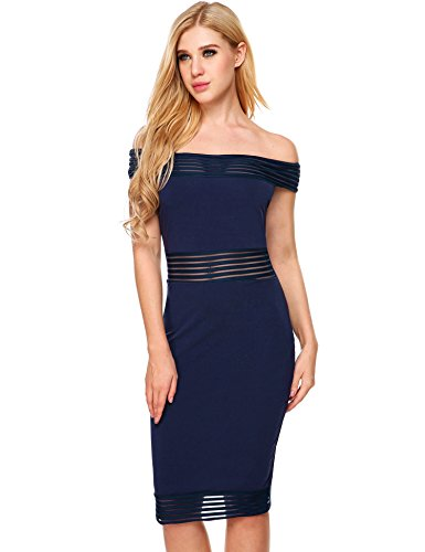 Women's Off Beyove Shoulder Dress Sexy Dark Sheath Midi Bodycon Evening Short Blue Cocktail pqUOdwx